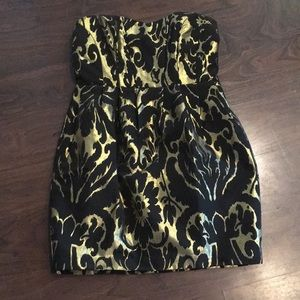 H&M black and gold strapless dress 14M